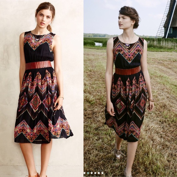cb6499bdbb0f Anthropologie Dresses & Skirts - Anthropologie Patchwork Chevron Midi Dress